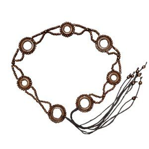 Women Fashion Tie Belt Dark Brown Wood Beads Circl